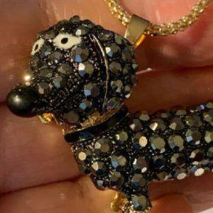 Betsey Johnson DACHSHUND Rhinestone Necklace